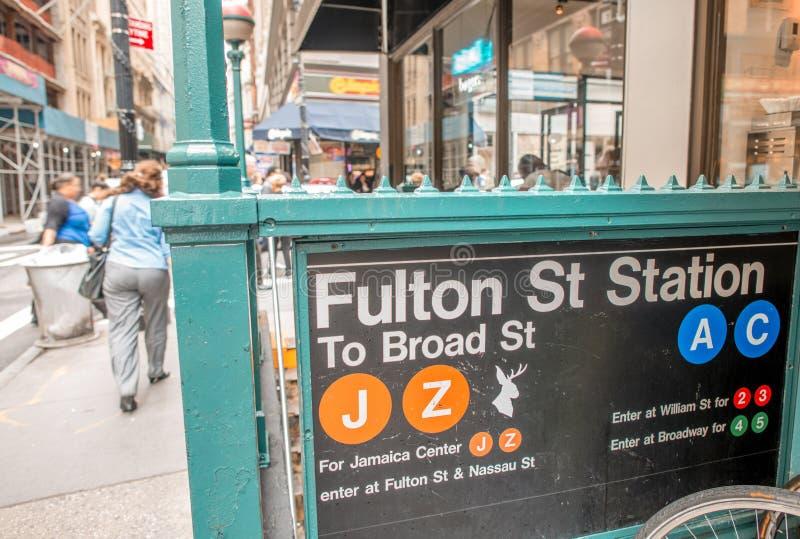 Södra gatahamnstad Fulton Street Station Subway Entrance som är ny arkivfoto