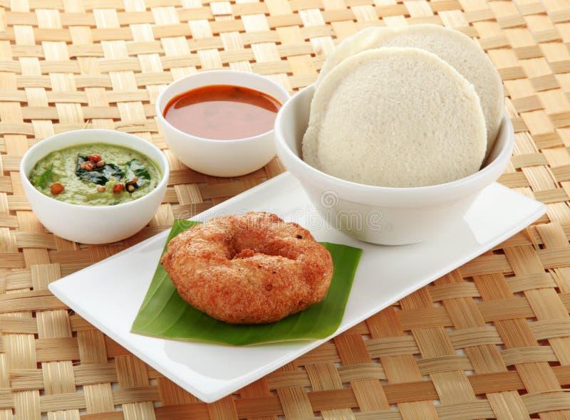 Södra indisk maträtt overksamt, vada och sambar royaltyfri fotografi