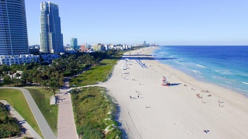 Södra Pointe parkerar i Miami Beach, flyg- sikt royaltyfri bild