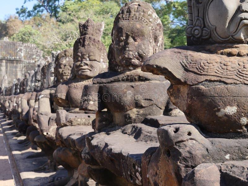 Södra port av Angkor Thom, Angkor arkivbild