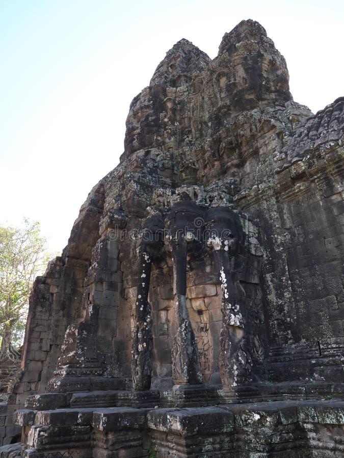 Södra port av Angkor Thom, Angkor arkivbilder