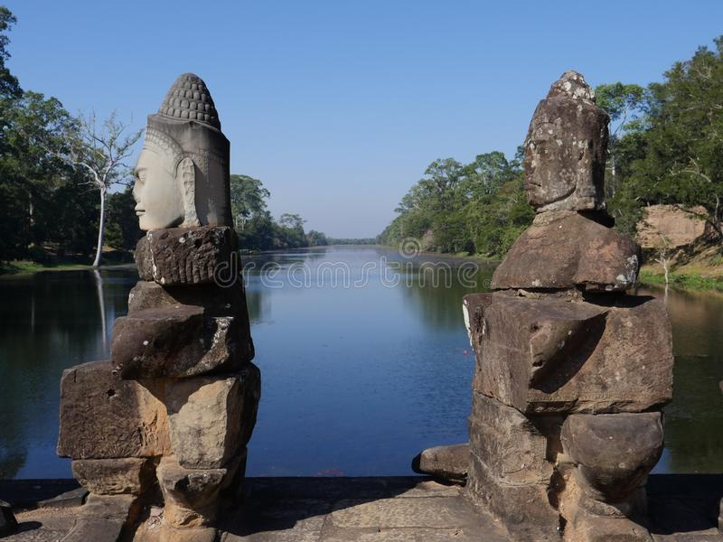 Södra port av Angkor Thom, Angkor fotografering för bildbyråer