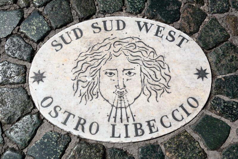 Södra södra markör för västra vind i Vaticanen arkivfoton