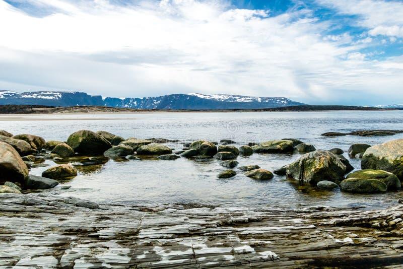 Södra sida av kvastpunkt, Gros, Morne, Newfoundland, Kanada arkivbild