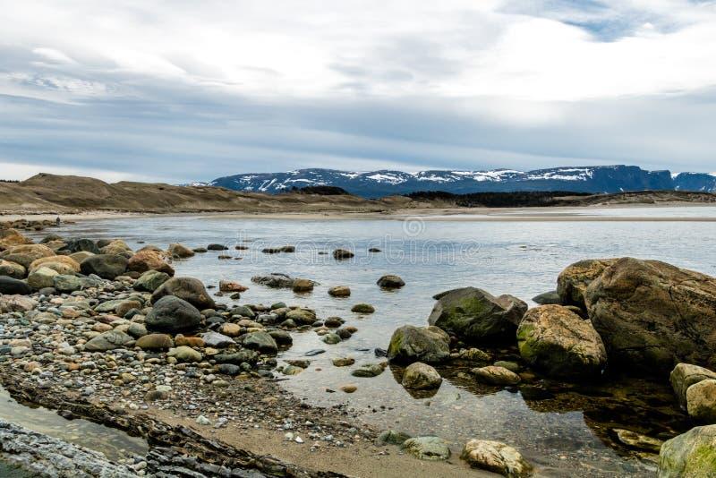 Södra sida av kvastpunkt, Gros, Morne, Newfoundland, Kanada royaltyfri foto