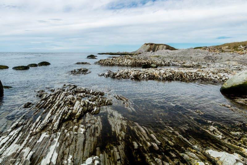 Södra sida av kvastpunkt, Gros, Morne, Newfoundland, Kanada arkivfoto