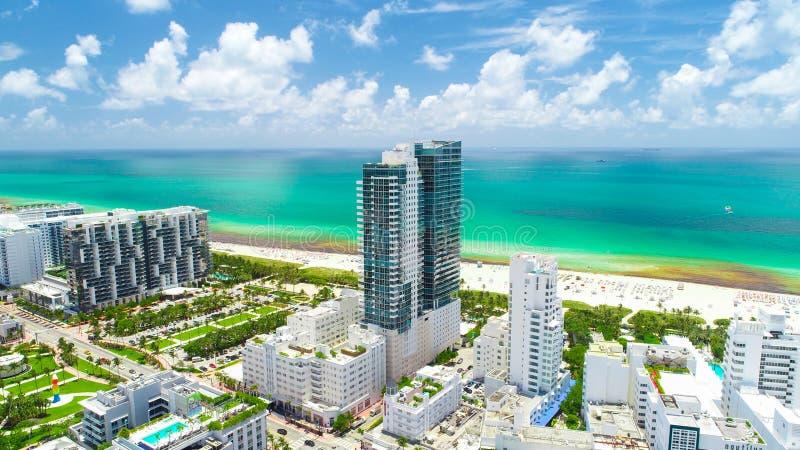 södra sikt för flyg- strand strand miami Florida USA arkivfoton