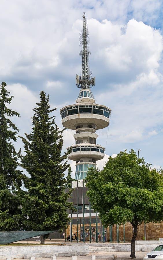 Södra sikt för OTE-telekommunikationtorn Ställningar 76 för detta mäter 1966 torn höjdpunkt från gren fotografering för bildbyråer