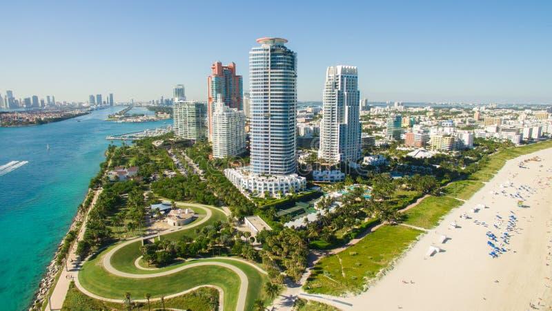 Södra strand, Miami Beach Florida flyg- sikt arkivfoto