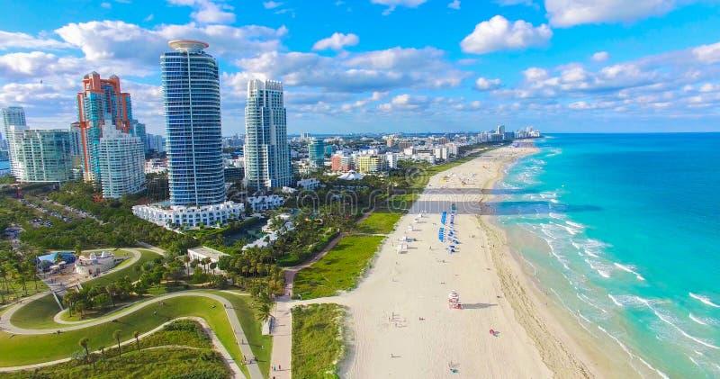 Södra strand, Miami Beach Florida flyg- sikt arkivfoton