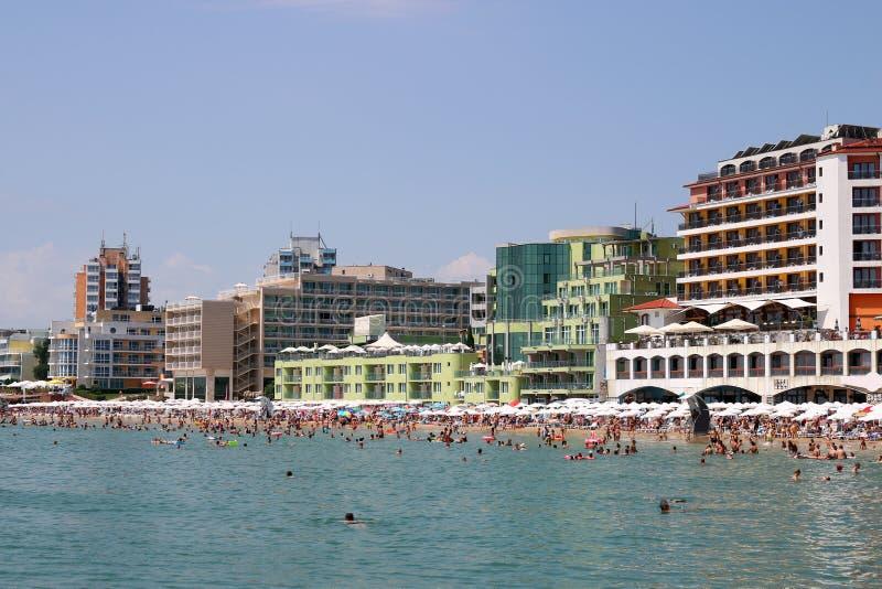Södra strand Nessebar i sommar fotografering för bildbyråer
