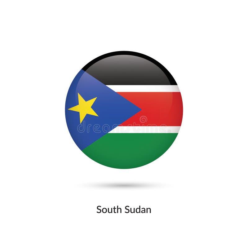 Södra Sudan flagga - rund glansig knapp stock illustrationer
