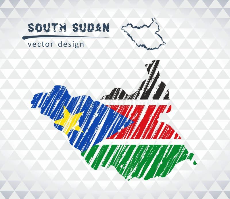 Södra Sudan vektoröversikt med flaggainsidan som isoleras på en vit bakgrund Skissa drog illustrationen för krita handen royaltyfri illustrationer