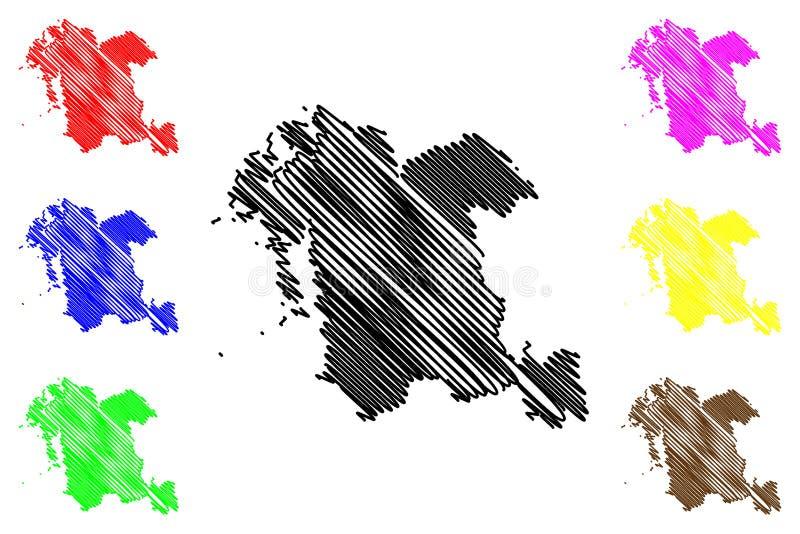 Södra vektor för Chungcheong landskapöversikt stock illustrationer