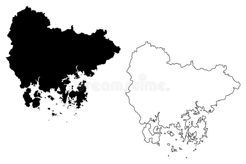 Södra vektor för Gyeongsang landskapöversikt vektor illustrationer