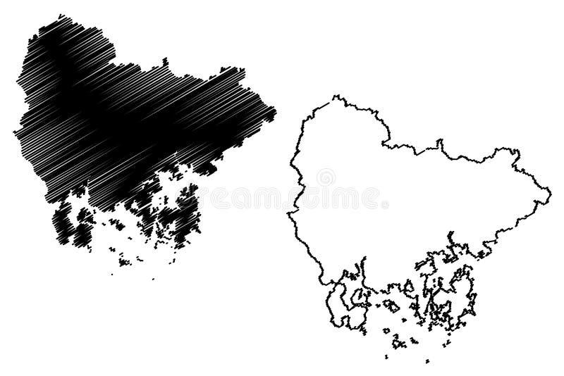 Södra vektor för Gyeongsang landskapöversikt stock illustrationer
