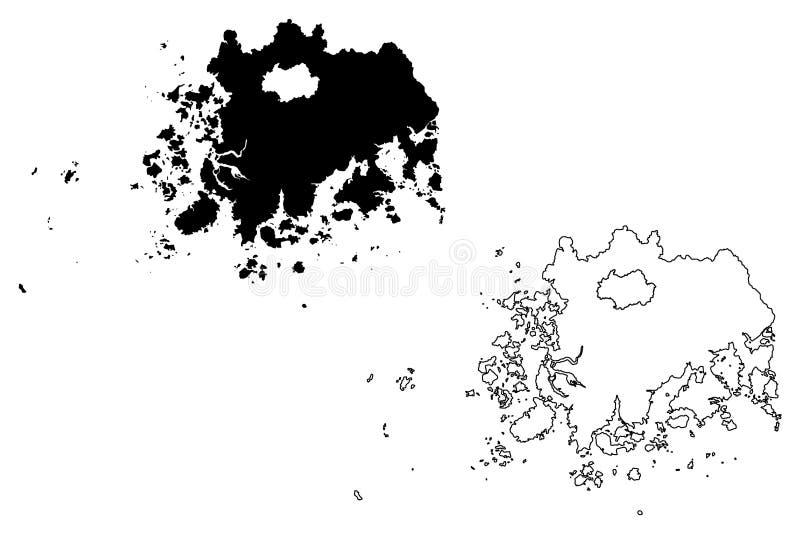 Södra vektor för Jeolla landskapöversikt stock illustrationer
