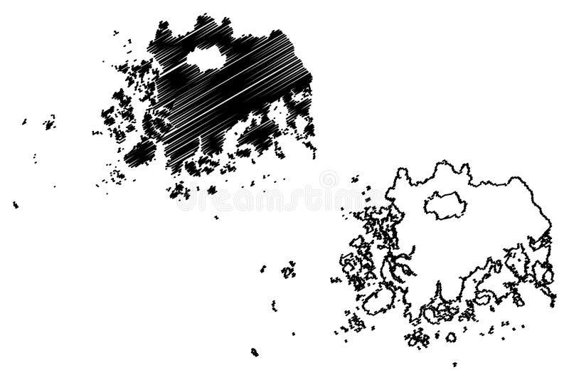 Södra vektor för Jeolla landskapöversikt royaltyfri illustrationer