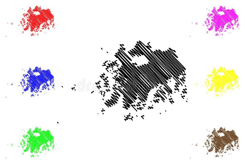 Södra vektor för Jeolla landskapöversikt vektor illustrationer