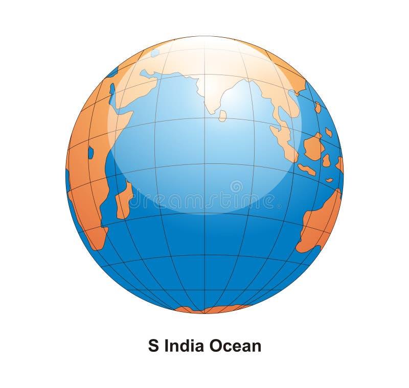 södra vektor för jordklotindia hav vektor illustrationer