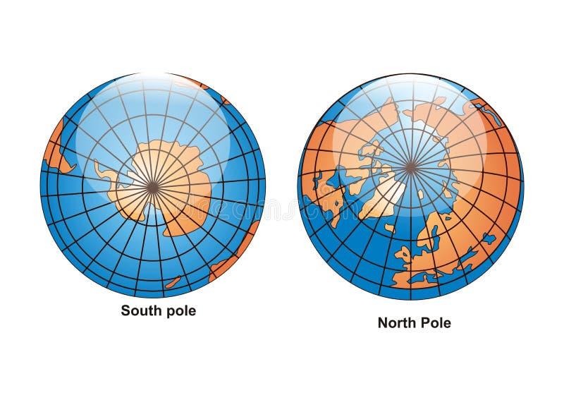 södra vektor för jordklotnordpolen royaltyfri illustrationer