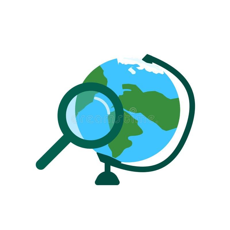 Sök det symbolsvektortecknet och symbolet som isoleras på vit bakgrund, sökandelogobegrepp vektor illustrationer