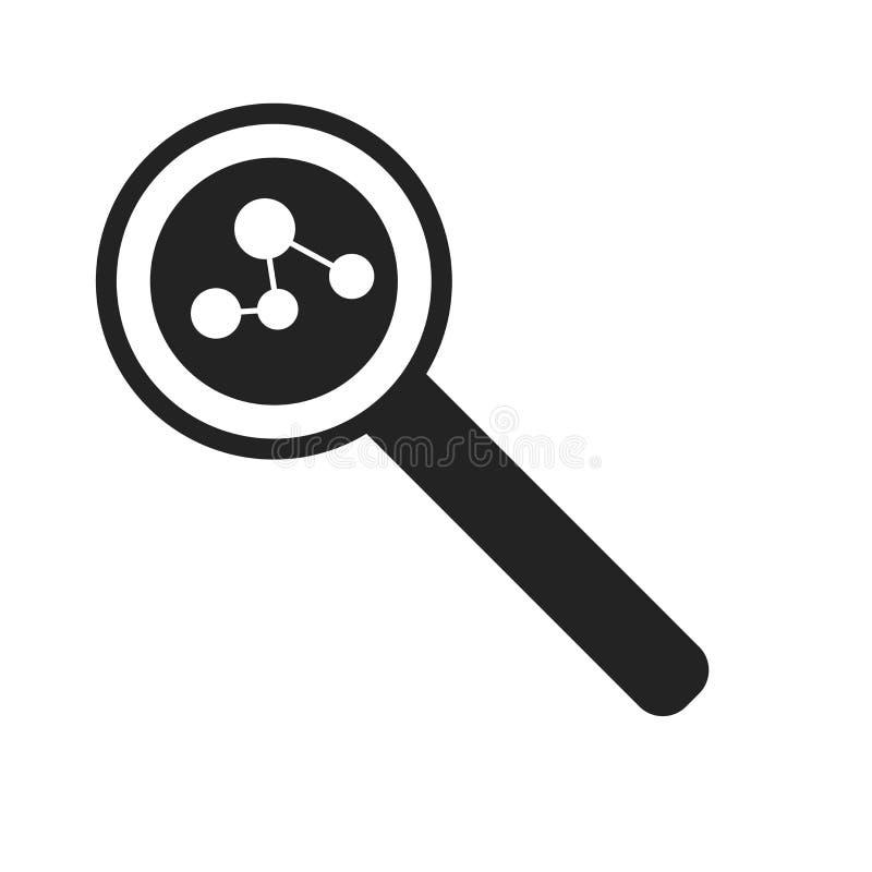 Sök det symbolsvektortecknet och symbolet som isoleras på vit bakgrund, sökandelogobegrepp royaltyfri illustrationer