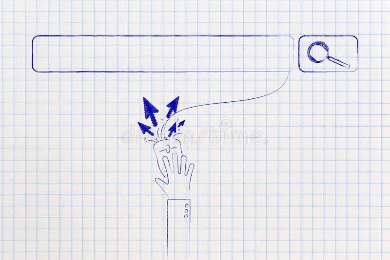 Sök stången och användaren som klickar på mus med markörpilar stock illustrationer