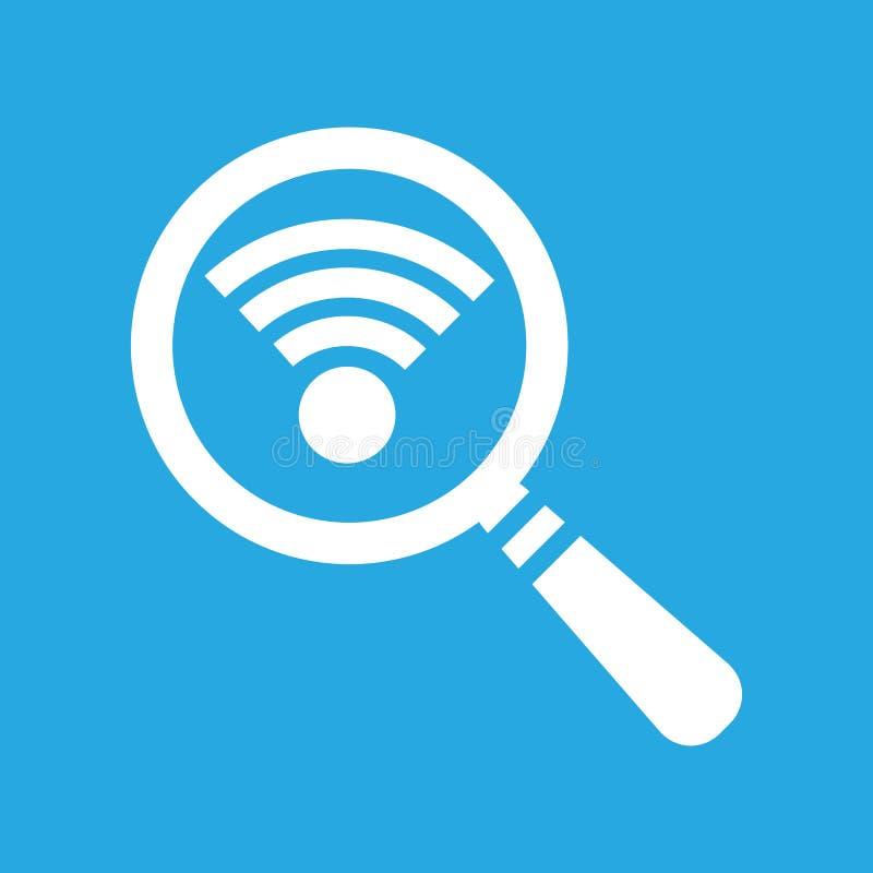 Sök symbolen för anslutning wi-fi, wifien som söker pictogramen på en blått stock illustrationer