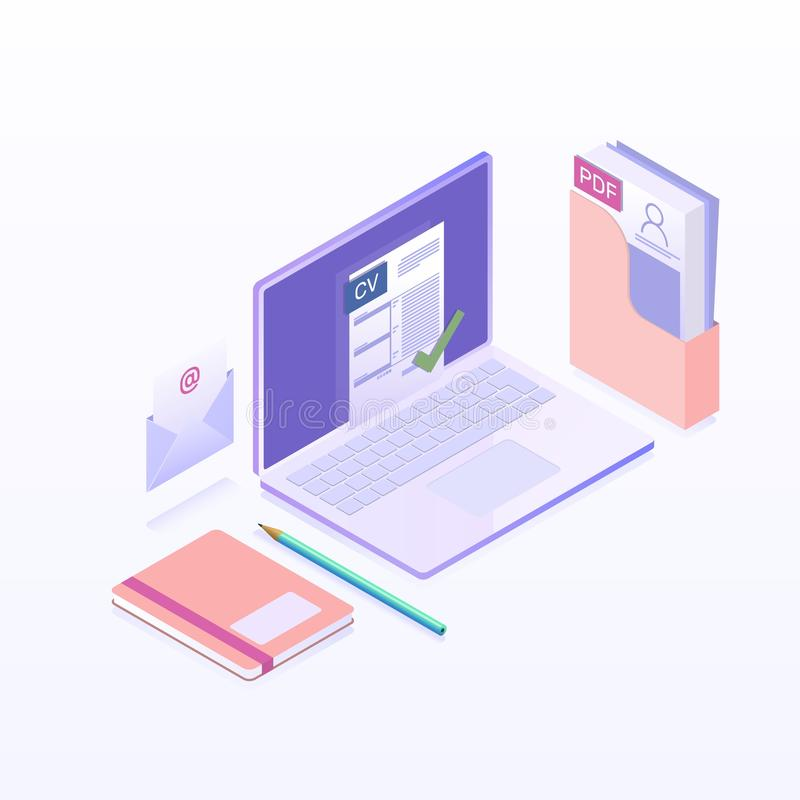 Söka den yrkesmässiga personalen, arbete som analyserar meritförteckningen Affärsidé för jobbintervju och rekrytering Isometrisk  stock illustrationer