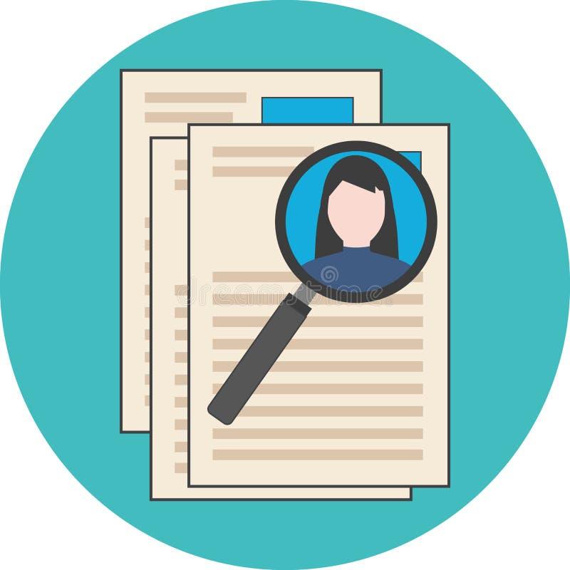 Söka den yrkesmässiga personalen som analyserar meritförteckningen, conc rekrytering royaltyfri illustrationer