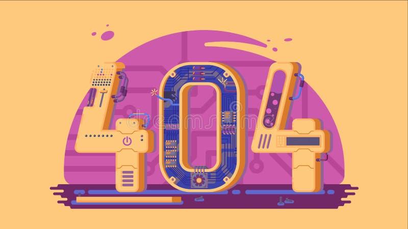 Söka det inte fann vektorbegreppet för fel 404 med robotar och maskineri royaltyfri illustrationer