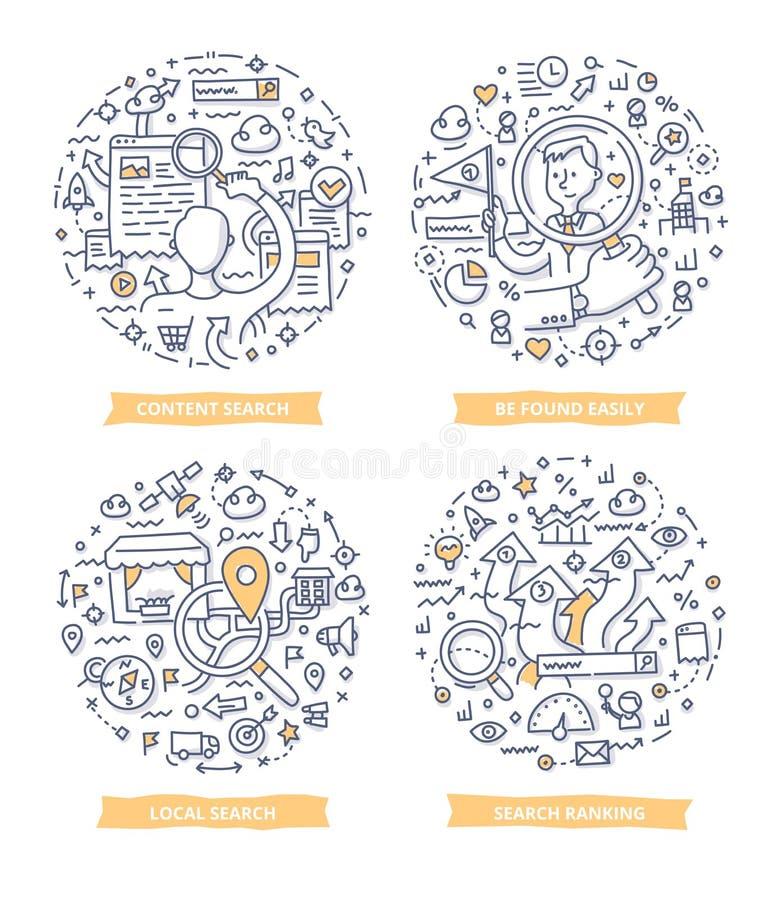 Sökande av begreppsklotterillustrationer stock illustrationer