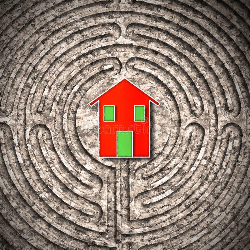 Sökande av hem- begreppsbild mot en stenlabyrint arkivbilder