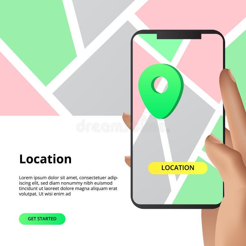 Sökande av lägeöversikter som delar begrepp För affär marknad som shoppar riktning med smarthphoneappen med handillustrationen stock illustrationer