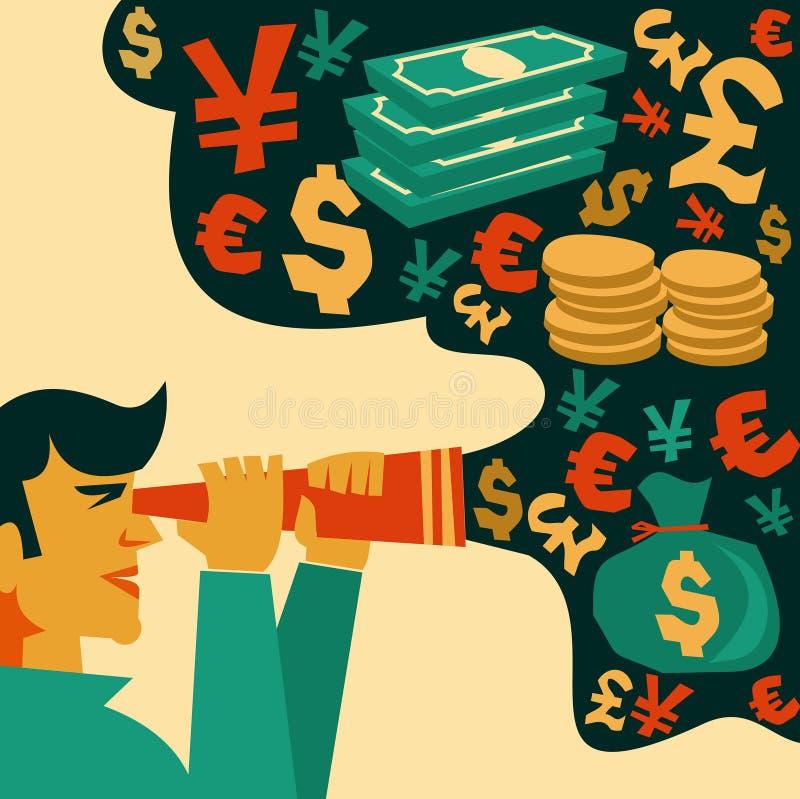 Sökande av pengar, finansiella symboler stock illustrationer