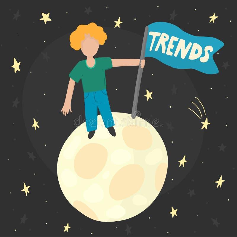 Sökande av trendbegrepp med en man stock illustrationer