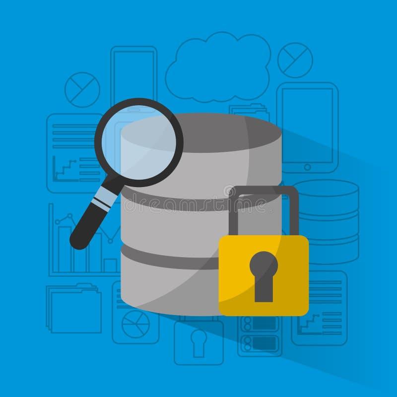 Sökande för analys för databaslagringssäkerhet royaltyfri illustrationer
