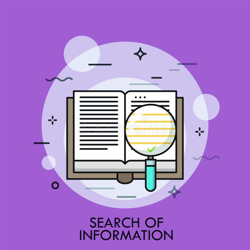 Sökande för den tunna linjen begrepp för information vektor illustrationer