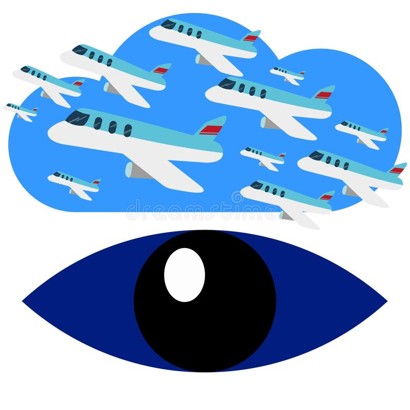 Sökande för det blåa ögat Logo Vector för flygplanflyg royaltyfri illustrationer
