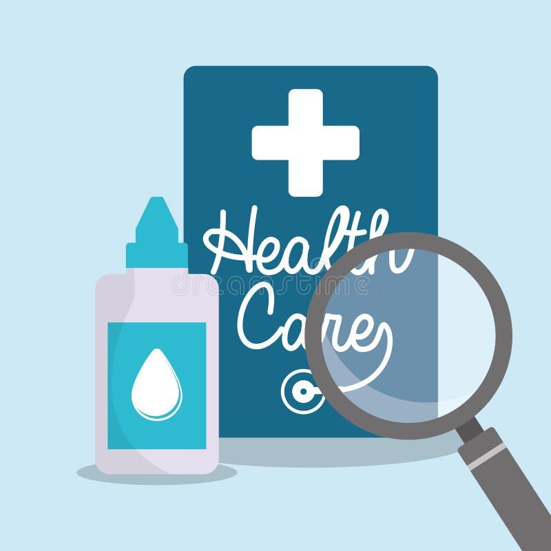sökande för hälsovårdeyedropperflaska royaltyfri illustrationer