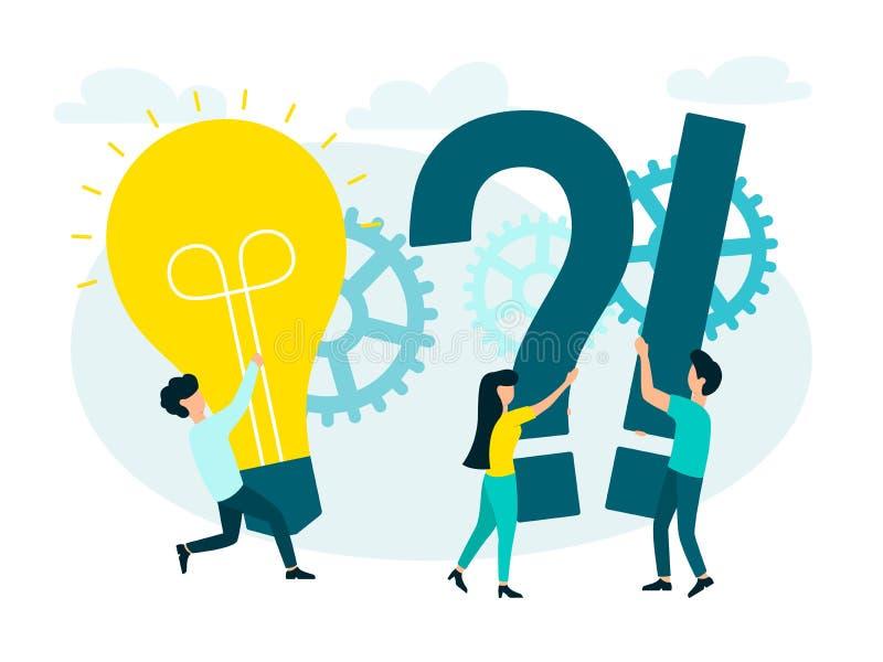 Sökande för nya lösningar, teamwork i företaget, en ny idé vektor illustrationer