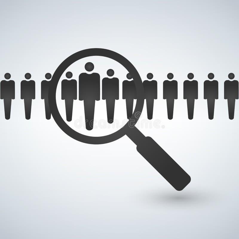 Sökande folk för förstoringsglas Jobbsökande och karriärvalanställning Online-begrepp också vektor för coreldrawillustration stock illustrationer