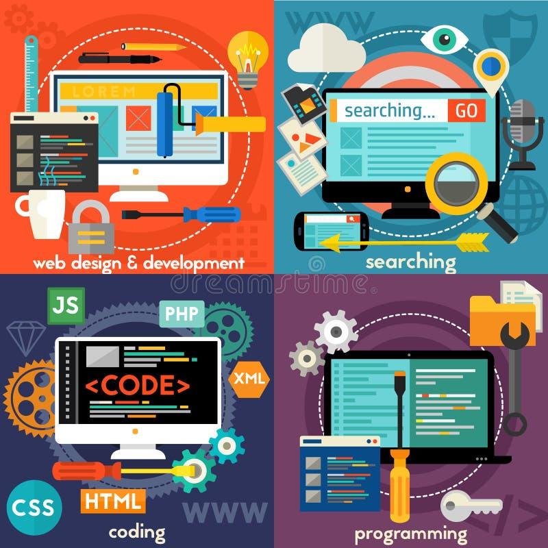 Sökande, programmera, rengöringsdukdesign och utveckling och kodifiera begreppsbaner stock illustrationer