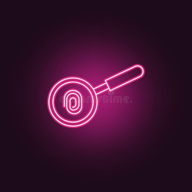 sökande vid fingeravtrycksymbolen Beståndsdelar av brotts- utredning i neonstilsymboler Enkel symbol för websites, rengöringsdukd royaltyfri illustrationer