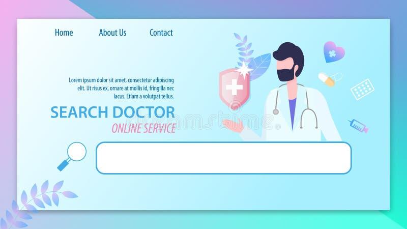 Sökandedoktor Online Service Man med stetoskopet royaltyfri illustrationer