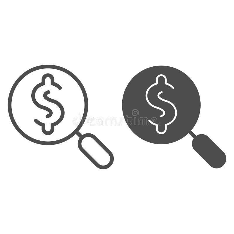 Sökandedollarlinje och skårasymbol Söka efter pengarvektorillustrationen som isoleras på vit Dollar och förstoringsglas vektor illustrationer