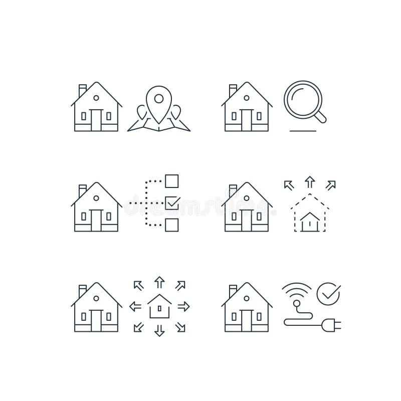 Sökandekriterier, fastighetservice, lägefläck på översikt, formatparameter, smart hem, trådlös internetuppkoppling, slaglängdsymb stock illustrationer