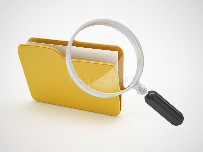 Sökandemappmappar eller datorfelsymbol royaltyfri illustrationer