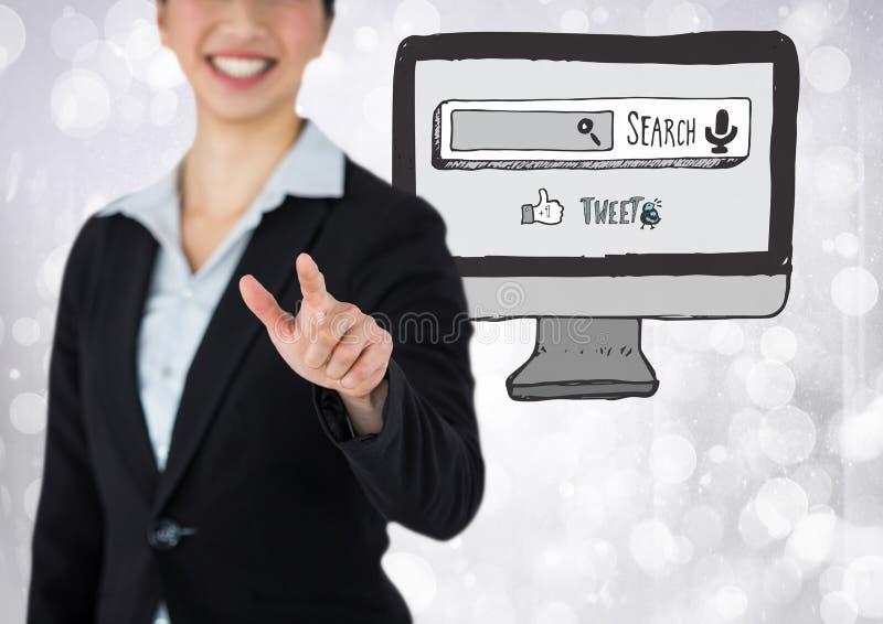 Sökandestångdator med kvinnan royaltyfri bild